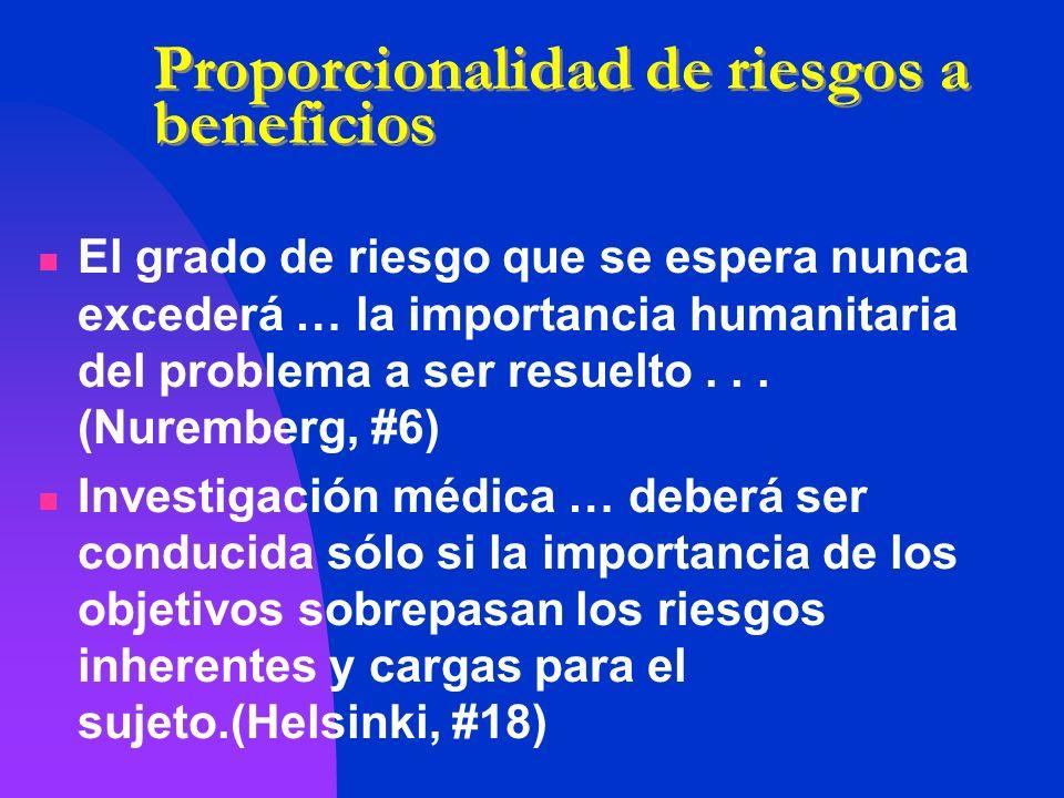 Proporcionalidad de riesgos a beneficios El grado de riesgo que se espera nunca excederá … la importancia humanitaria del problema a ser resuelto... (