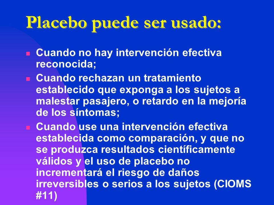 Placebo puede ser usado: Cuando no hay intervención efectiva reconocida; Cuando rechazan un tratamiento establecido que exponga a los sujetos a malest