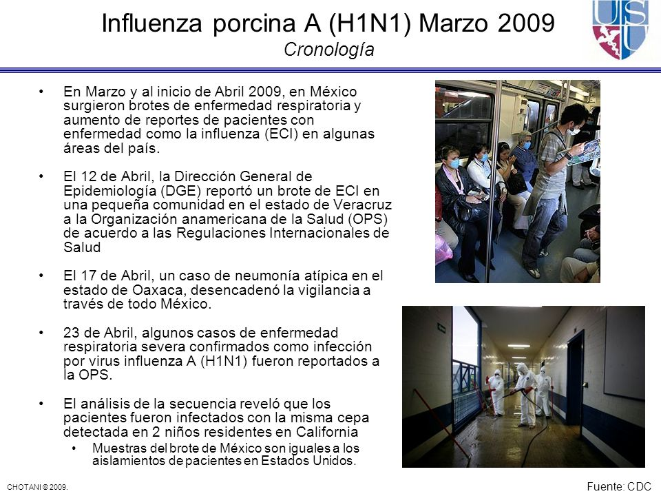 CHOTANI © 2009. Influenza porcina A (H1N1) Marzo 2009 Cronología En Marzo y al inicio de Abril 2009, en México surgieron brotes de enfermedad respirat