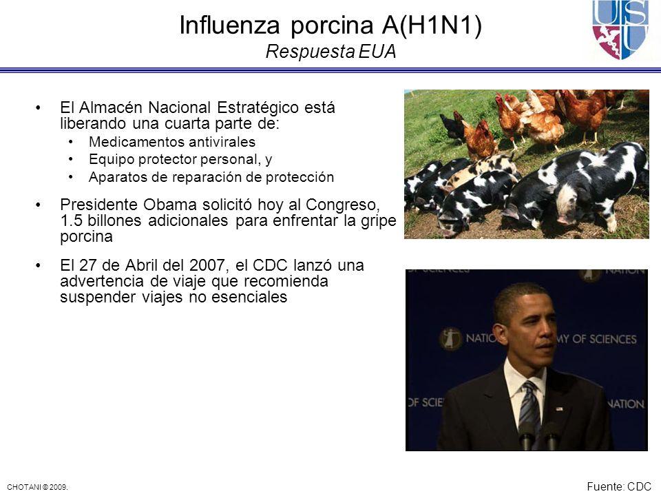 CHOTANI © 2009. Influenza porcina A(H1N1) Respuesta EUA El Almacén Nacional Estratégico está liberando una cuarta parte de: Medicamentos antivirales E