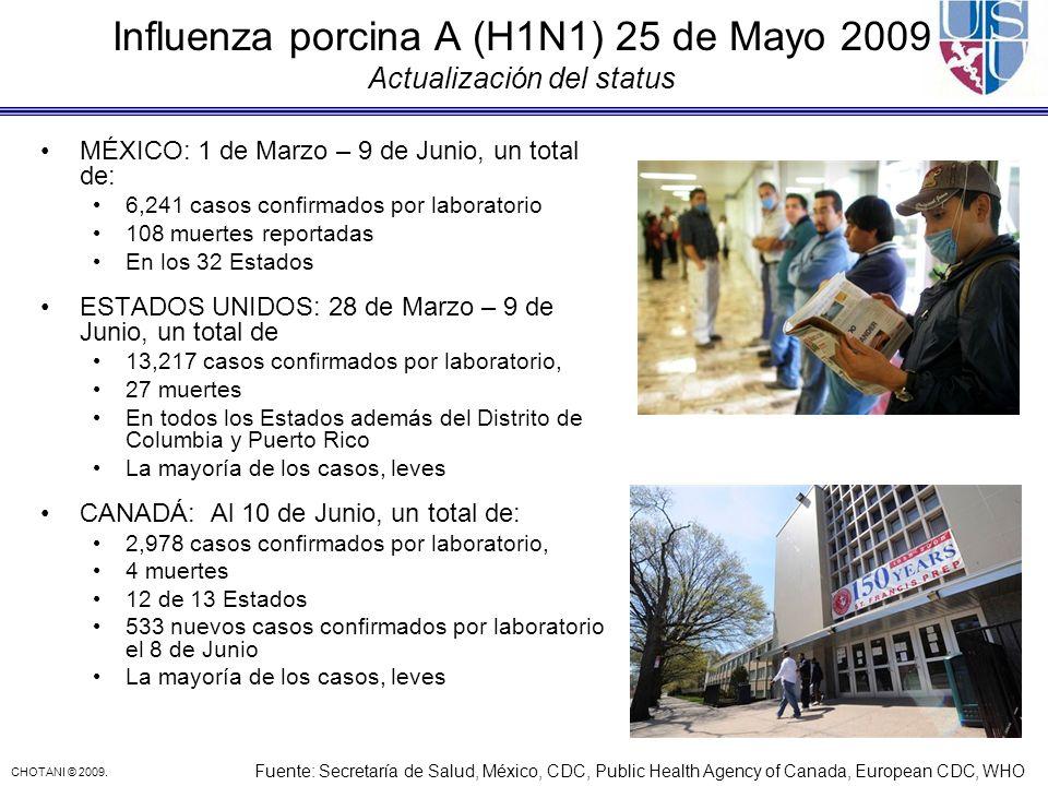 CHOTANI © 2009. Influenza porcina A (H1N1) 25 de Mayo 2009 Actualización del status MÉXICO: 1 de Marzo – 9 de Junio, un total de: 6,241 casos confirma