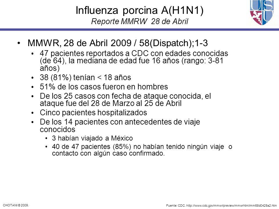 CHOTANI © 2009. Influenza porcina A(H1N1) Reporte MMRW 28 de Abril MMWR, 28 de Abril 2009 / 58(Dispatch);1-3 47 pacientes reportados a CDC con edades
