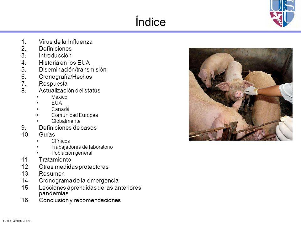 CHOTANI © 2009. 1.Virus de la Influenza 2.Definiciones 3.Introducción 4.Historia en los EUA 5.Diseminación/transmisión 6.Cronografía/Hechos 7.Respuest