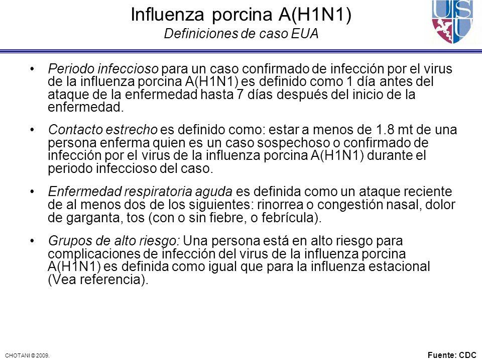 CHOTANI © 2009. Influenza porcina A(H1N1) Definiciones de caso EUA Periodo infeccioso para un caso confirmado de infección por el virus de la influenz