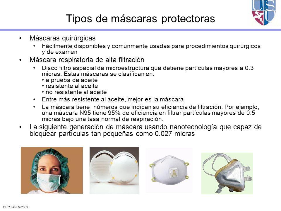 CHOTANI © 2009. Máscaras quirúrgicas Fácilmente disponibles y comúnmente usadas para procedimientos quirúrgicos y de examen Máscara respiratoria de al