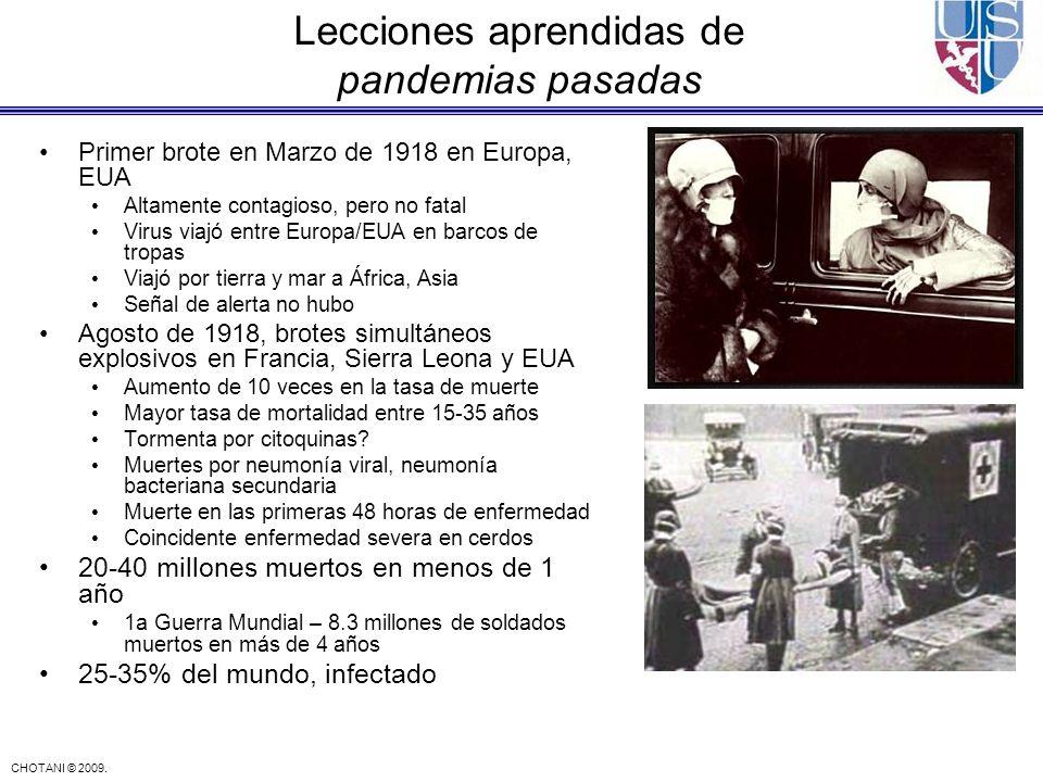 CHOTANI © 2009. Lecciones aprendidas de pandemias pasadas Primer brote en Marzo de 1918 en Europa, EUA Altamente contagioso, pero no fatal Virus viajó