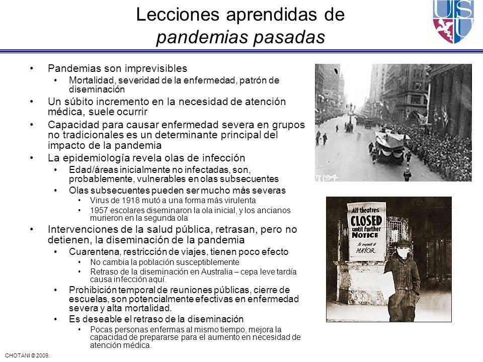 CHOTANI © 2009. Pandemias son imprevisibles Mortalidad, severidad de la enfermedad, patrón de diseminación Un súbito incremento en la necesidad de ate
