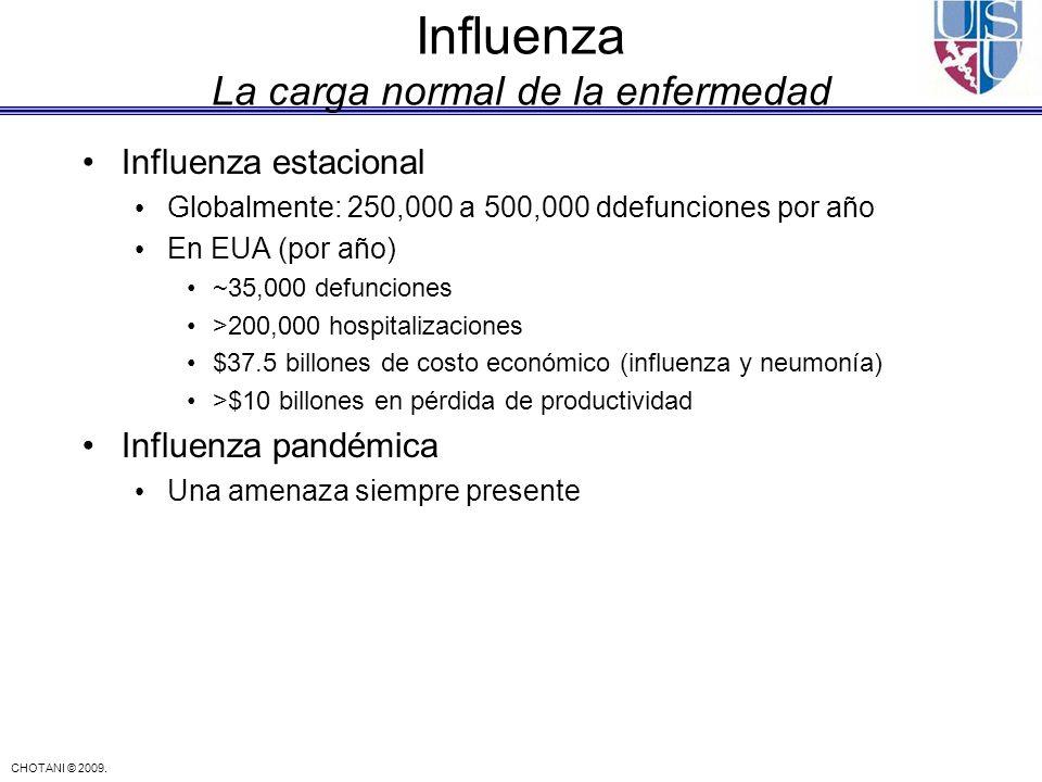 CHOTANI © 2009. Influenza La carga normal de la enfermedad Influenza estacional Globalmente: 250,000 a 500,000 ddefunciones por año En EUA (por año) ~