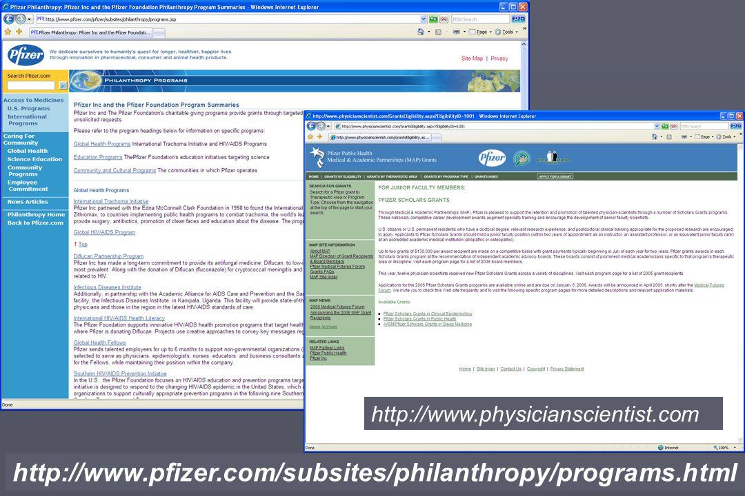 http://www.pfizer.com/subsites/philanthropy/programs.html http://www.physicianscientist.com