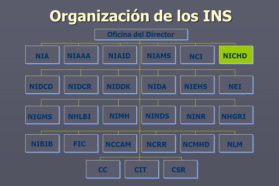 Organización de los INS NIGMS Oficina del Director NIA NIAAANIAIDNIAMS NCI NICHD NIDCDNIDCRNIDDKNIDANIEHSNEI NHLBI NIMHNINDS NINRNHGRI NIBIBFIC NLMNCRRNCMHDNCCAM CSRCCCIT