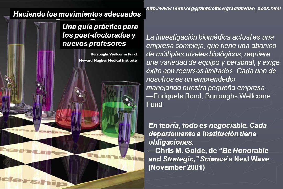 http://www.hhmi.org/grants/office/graduate/lab_book.html La investigación biomédica actual es una empresa compleja, que tiene una abanico de múltiples niveles biológicos, requiere una variedad de equipo y personal, y exige éxito con recursos limitados.