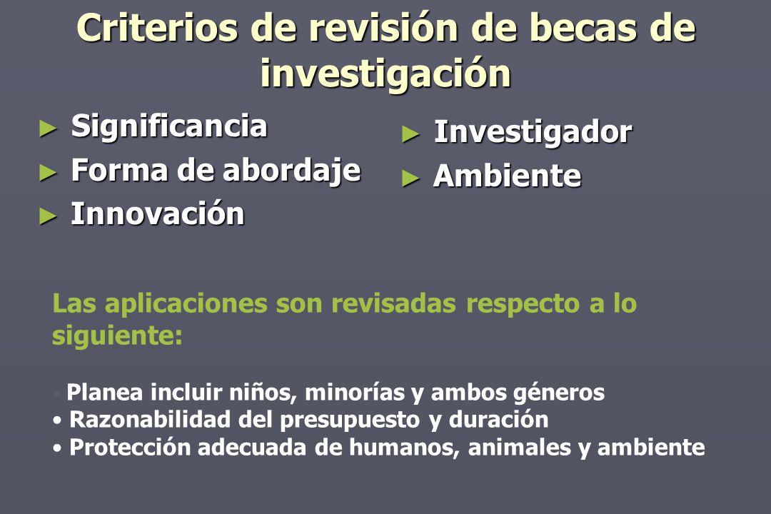 Criterios de revisión de becas de investigación Significancia Significancia Forma de abordaje Forma de abordaje Innovación Innovación Investigador Ambiente Las aplicaciones son revisadas respecto a lo siguiente: Planea incluir niños, minorías y ambos géneros Razonabilidad del presupuesto y duración Protección adecuada de humanos, animales y ambiente