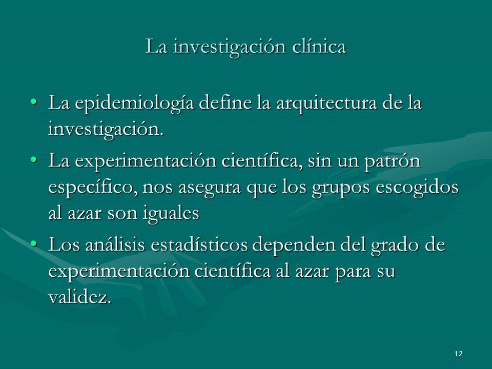 12 La investigación clínica La epidemiología define la arquitectura de la investigación.La epidemiología define la arquitectura de la investigación. L