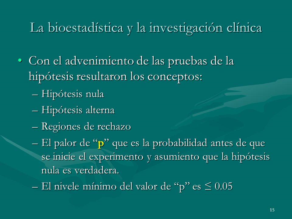 15 La bioestadística y la investigación clínica Con el advenimiento de las pruebas de la hipótesis resultaron los conceptos:Con el advenimiento de las