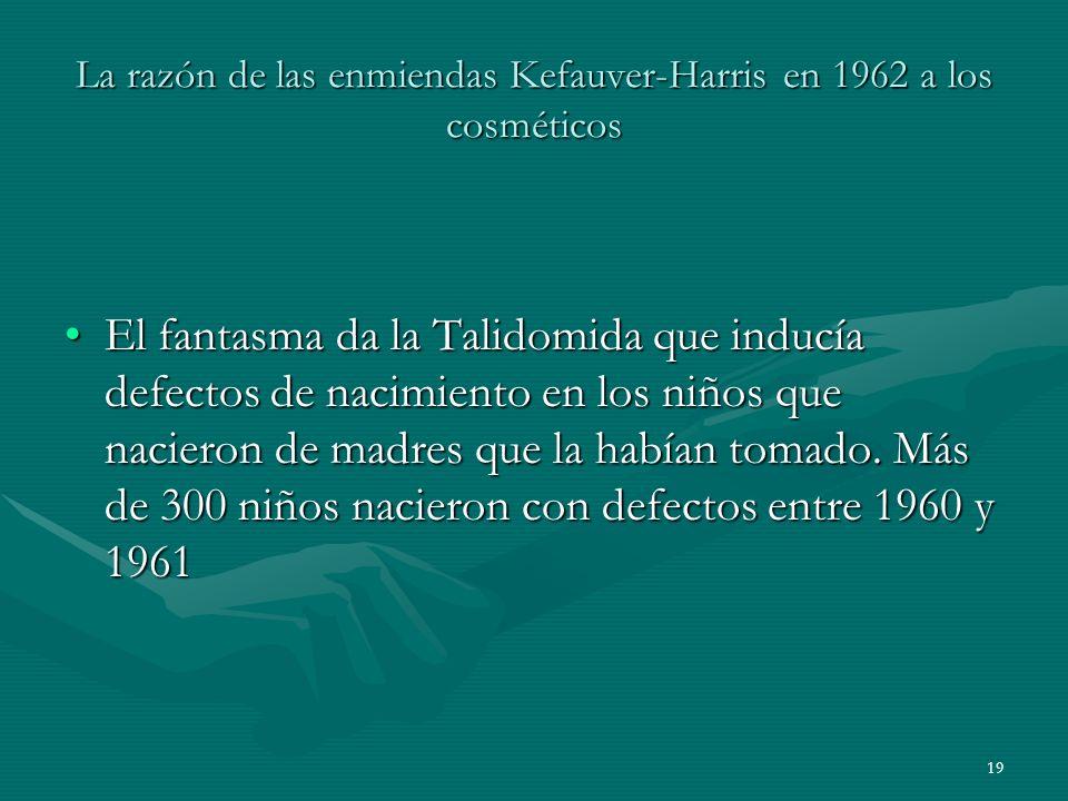 19 La razón de las enmiendas Kefauver-Harris en 1962 a los cosméticos El fantasma da la Talidomida que inducía defectos de nacimiento en los niños que