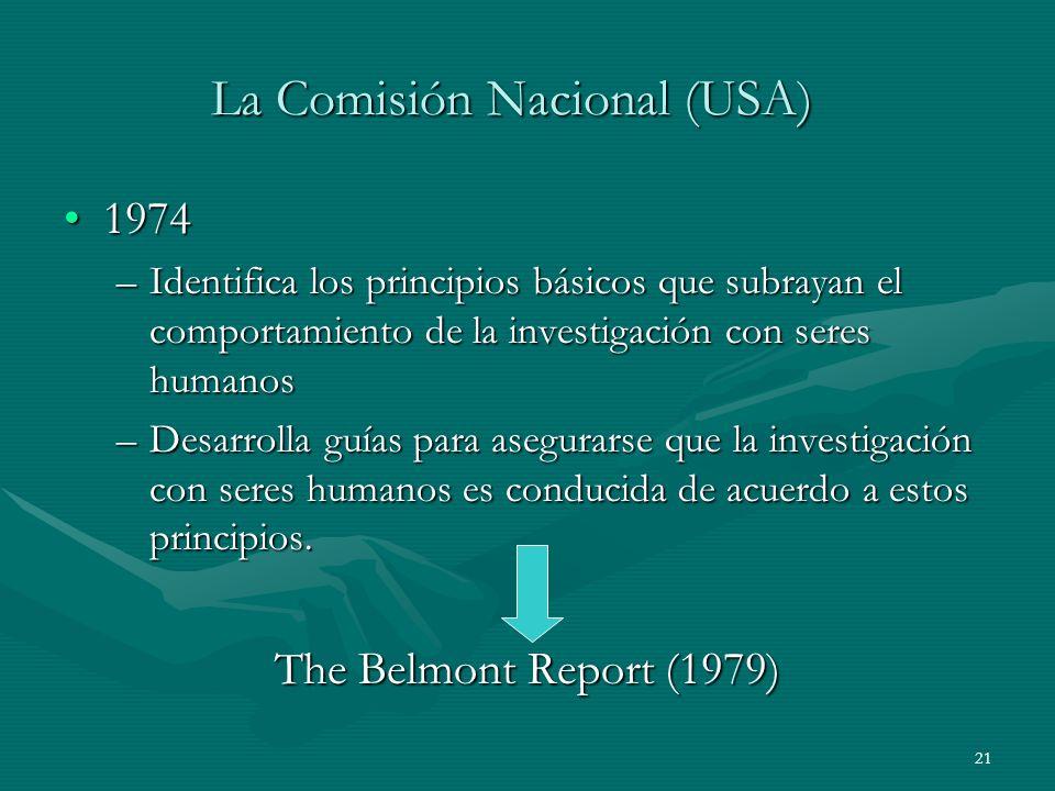 21 La Comisión Nacional (USA) 19741974 –Identifica los principios básicos que subrayan el comportamiento de la investigación con seres humanos –Desarr
