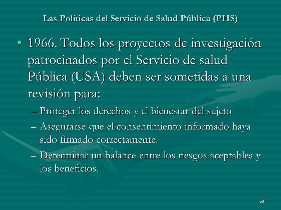 33 Las Políticas del Servicio de Salud Pública (PHS) 1966. Todos los proyectos de investigación patrocinados por el Servicio de salud Pública (USA) de