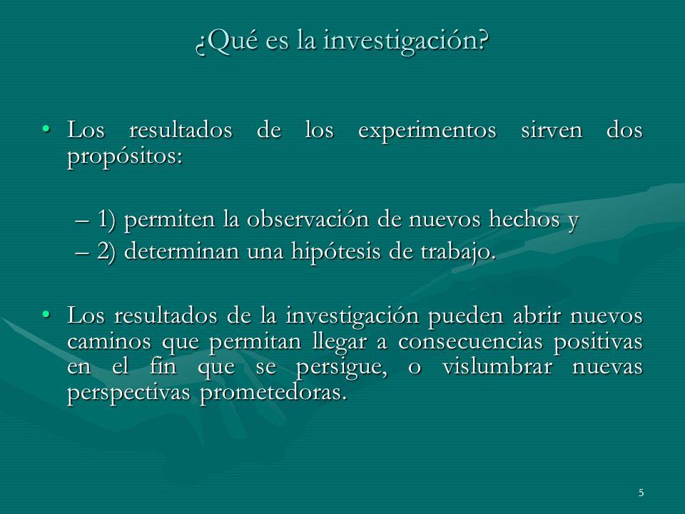 5 ¿Qué es la investigación? Los resultados de los experimentos sirven dos propósitos:Los resultados de los experimentos sirven dos propósitos: –1) per
