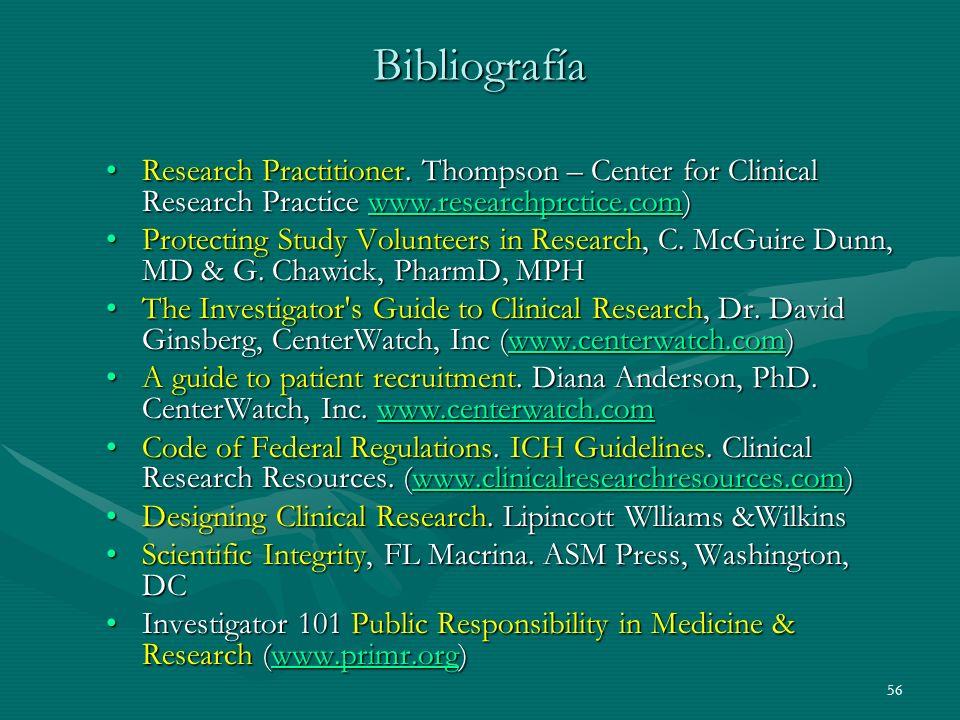 56 Bibliografía Research Practitioner. Thompson – Center for Clinical Research Practice www.researchprctice.com)Research Practitioner. Thompson – Cent