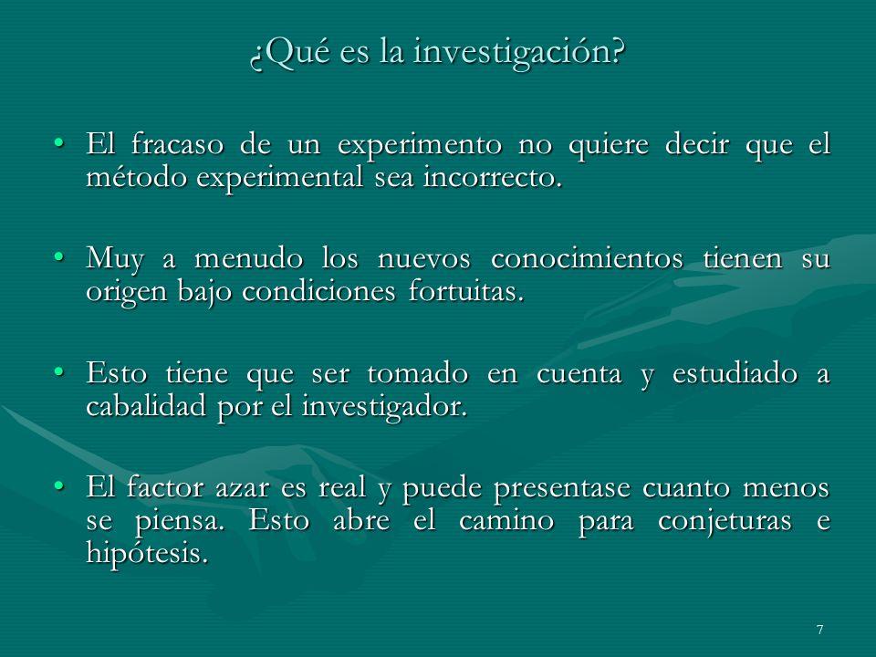 7 ¿Qué es la investigación? El fracaso de un experimento no quiere decir que el método experimental sea incorrecto.El fracaso de un experimento no qui