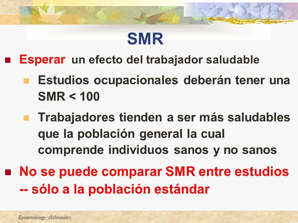 Epidemiology (Schneider) SMR Esperar un efecto del trabajador saludable Estudios ocupacionales deberán tener una SMR < 100 Trabajadores tienden a ser más saludables que la población general la cual comprende individuos sanos y no sanos No se puede comparar SMR entre estudios -- sólo a la población estándar