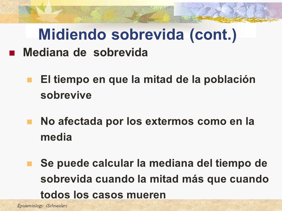 Epidemiology (Schneider) Midiendo sobrevida (cont.) Mediana de sobrevida El tiempo en que la mitad de la población sobrevive No afectada por los exter