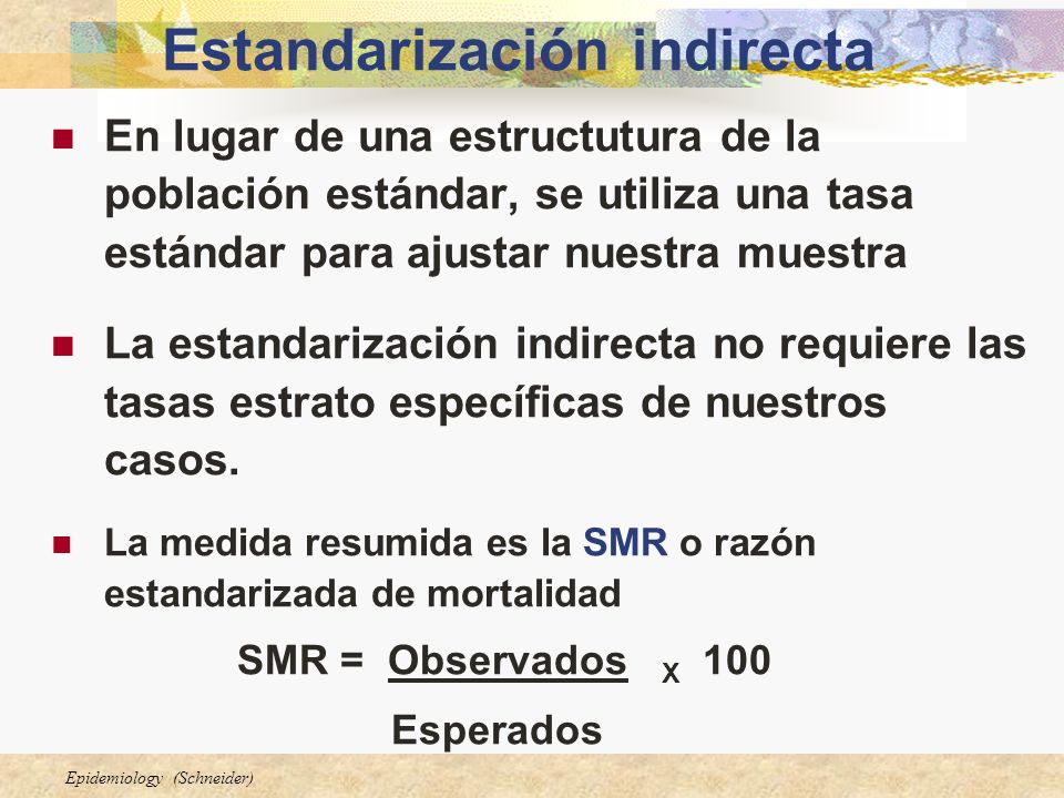 SMR = Obs / Esp X 100 = 15 / 12.9 X 100 = 116% Esp = 12.92.60.9 30-34 1.52.31.725-29 0.30.91.8Age 20-24 Muertes esperadas = tasas de la población x personas-años/1000 1.71.81.930-34 1.5 1.725-29 1.61.8 Age 20-24 Tasas de la población(por 1,000) Obs = 1521030-34 24325-29 012Age 20-24 Muertes observadas 1500500 30-34 10001500100025-29 2005001000 Age 20-24 1980-841975-791970-74 Persona-años