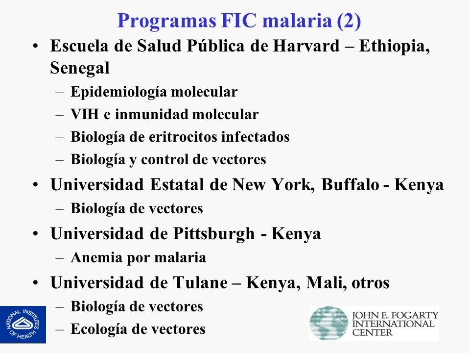 Programas FIC malaria (3) Universidad del Valle, Columbia – Latinoamérica –Anemia por malaria –Malaria clínica Universidad de Columbia - Tailandia –Anemia por malaria severa –Hematología Ejército EUA - Kenya –Malaria pediátrica –Malaria severa –Patogénesis molecular de la anemia y malaria cerebral