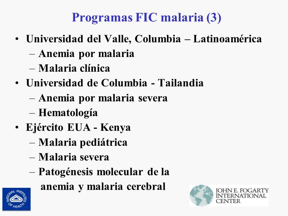Necesidades de recursos para malaria, 2007 (1) Intervenciones específicasNo of Unidades en 2007Costo por unidadRecursos anuales en millones de dólares Control del vector en áreas altamente endémicas (insecticidas de acción prolongada, tules, LLINs) para grupos vulnerables 31.5 millones LLINSUS$7 por LLIN procurado y distribuído a la población objetivo 220 Terapias de combinaciones de artemisin 1102 millones de dosisNiños <5 US$0.6 por dosis Niños 5-15 US$0.99 por dosis Adultos US$1.7 por dosis 1,180 Pruebas de diagnóstico rápido 776 millones de pruebasMediana de costo es US$0.7/paciente probado 543 Tratamiento intermitenete preventivo en el embarazo 39.7 millones de cursos de tratamiento US$0.164 por mujer embarazada 6.5 Manejo de casos severos de malaria 11.6 millones de casosMediana de costo es US$24/paciente 280