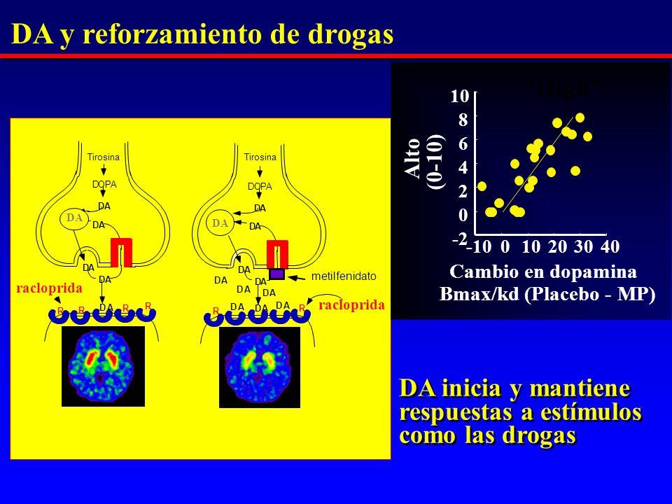 DA DOPA DA DA DA DA DA DOPA DA DA DA DA DA DA DA DA DA DA R R R R R R -10010203040 -2 0 2 4 6 8 10 Alto (0-10) Cambio en dopamina Bmax/kd (Placebo - MP) High DA y reforzamiento de drogas racloprida DA DA inicia y mantiene respuestas a estímulos como las drogas metilfenidato Tirosina