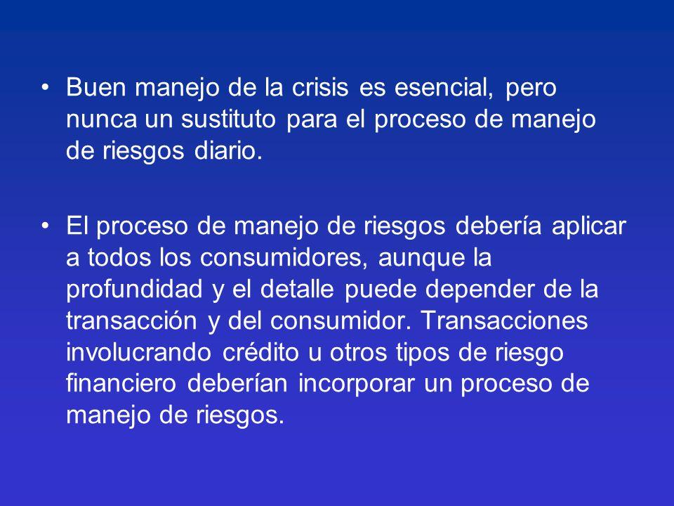 Buen manejo de la crisis es esencial, pero nunca un sustituto para el proceso de manejo de riesgos diario. El proceso de manejo de riesgos debería apl