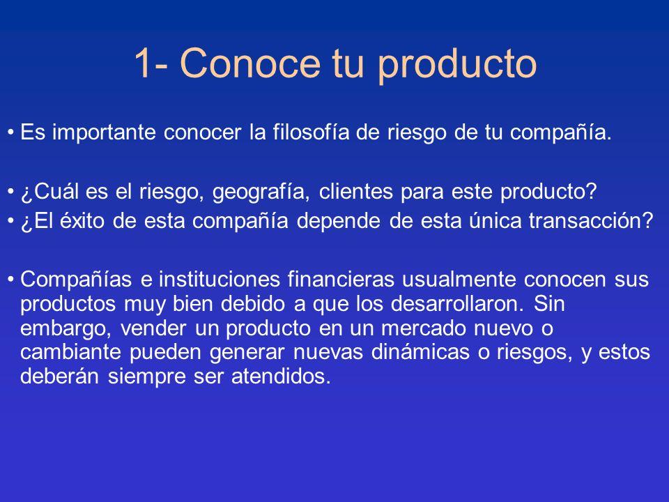 1- Conoce tu producto Es importante conocer la filosofía de riesgo de tu compañía. ¿Cuál es el riesgo, geografía, clientes para este producto? ¿El éxi