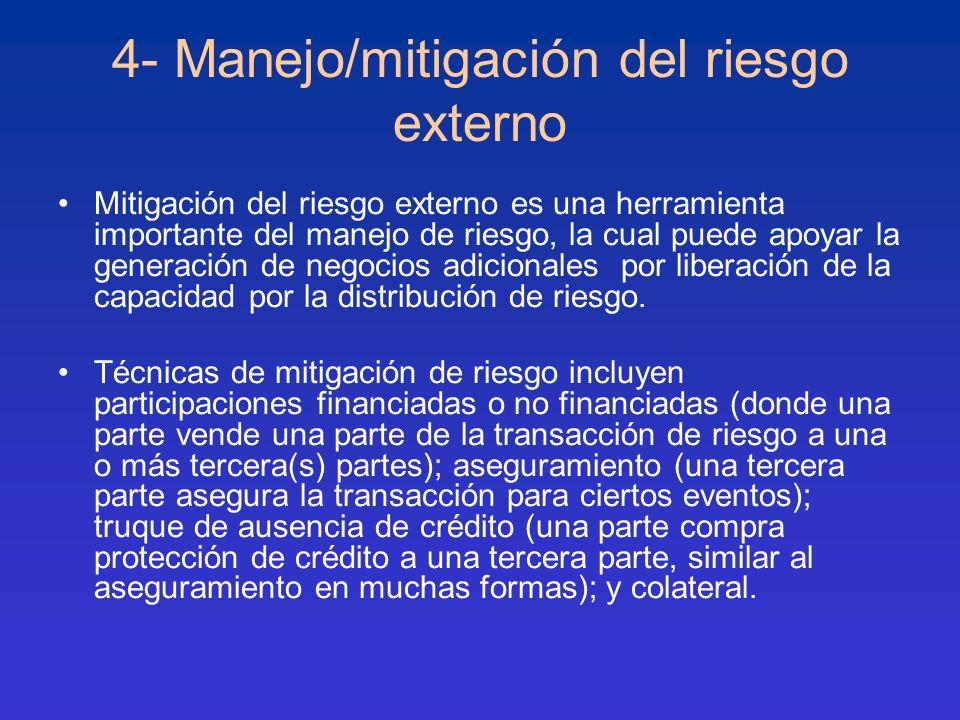 4- Manejo/mitigación del riesgo externo Mitigación del riesgo externo es una herramienta importante del manejo de riesgo, la cual puede apoyar la gene