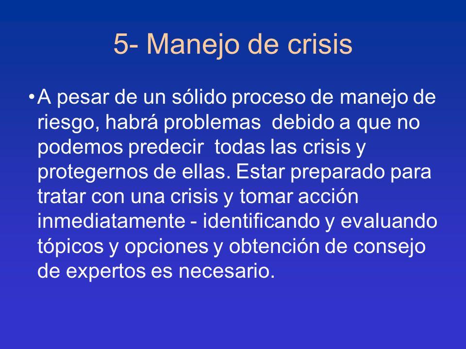 5- Manejo de crisis A pesar de un sólido proceso de manejo de riesgo, habrá problemas debido a que no podemos predecir todas las crisis y protegernos
