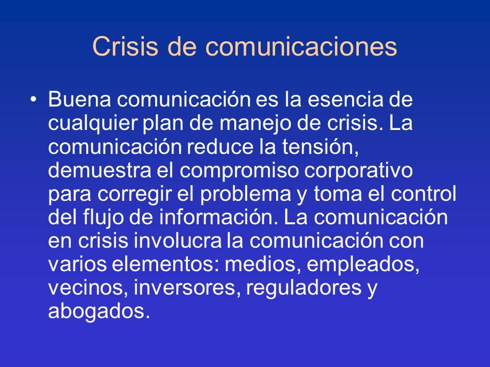 Crisis de comunicaciones Buena comunicación es la esencia de cualquier plan de manejo de crisis. La comunicación reduce la tensión, demuestra el compr