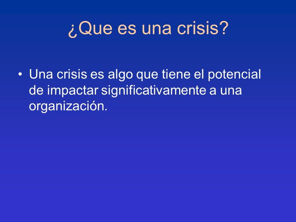 ¿Que es una crisis? Una crisis es algo que tiene el potencial de impactar significativamente a una organización.