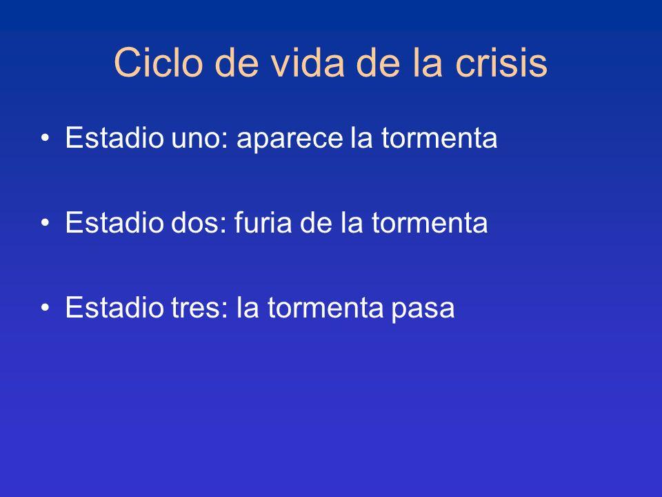 Ciclo de vida de la crisis Estadio uno: aparece la tormenta Estadio dos: furia de la tormenta Estadio tres: la tormenta pasa