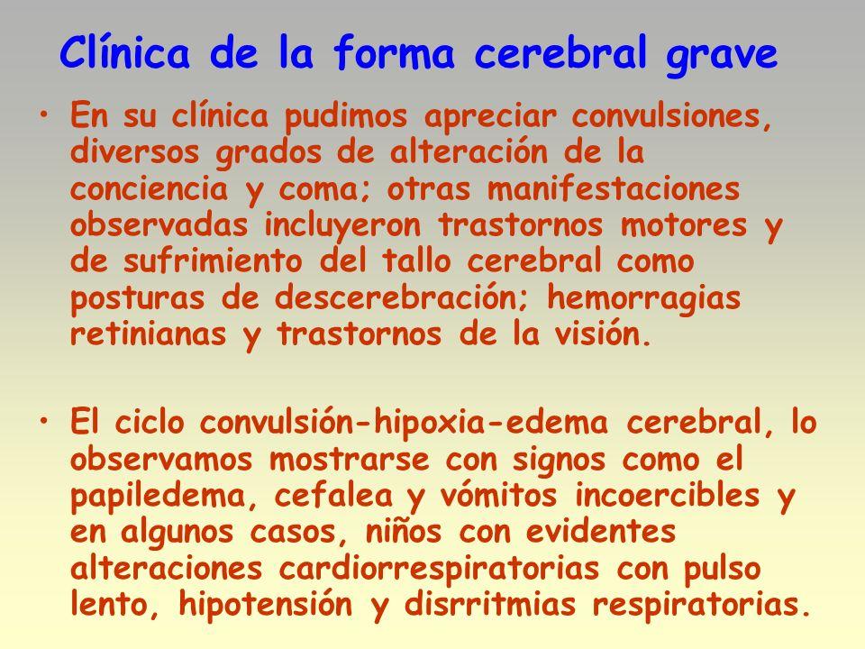 Clínica de la forma cerebral grave En su clínica pudimos apreciar convulsiones, diversos grados de alteración de la conciencia y coma; otras manifesta