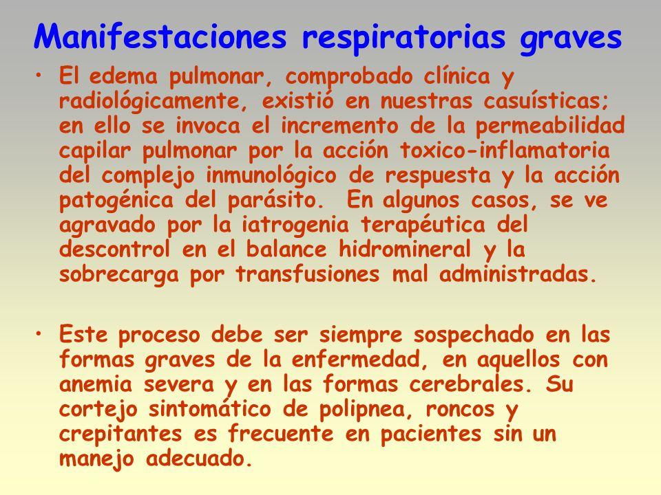 Manifestaciones respiratorias graves El edema pulmonar, comprobado clínica y radiológicamente, existió en nuestras casuísticas; en ello se invoca el i