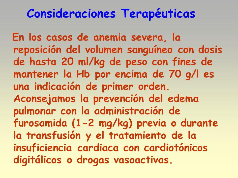 Consideraciones Terapéuticas En los casos de anemia severa, la reposición del volumen sanguíneo con dosis de hasta 20 ml/kg de peso con fines de mante