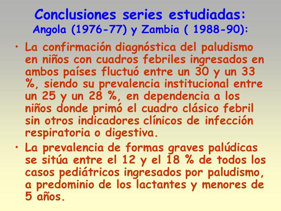 Conclusiones series estudiadas: Angola (1976-77) y Zambia ( 1988-90): La confirmación diagnóstica del paludismo en niños con cuadros febriles ingresad