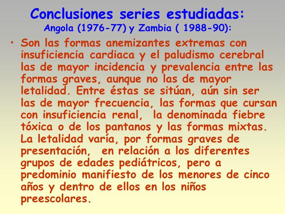 Conclusiones series estudiadas: Angola (1976-77) y Zambia ( 1988-90): Son las formas anemizantes extremas con insuficiencia cardiaca y el paludismo ce