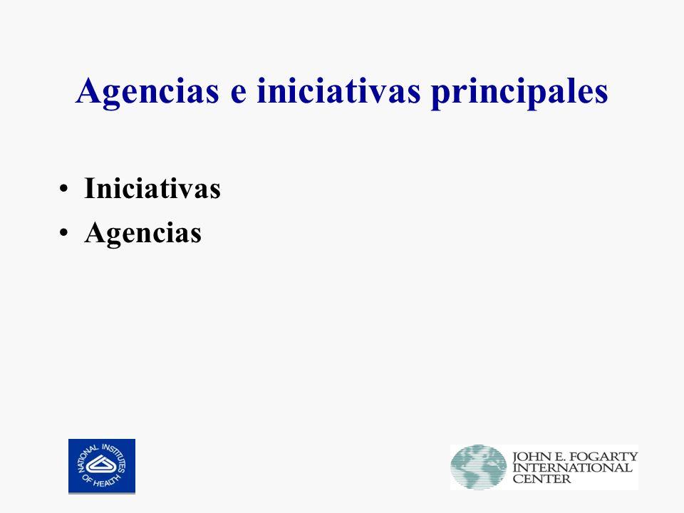 Agencias e iniciativas principales Iniciativas Agencias