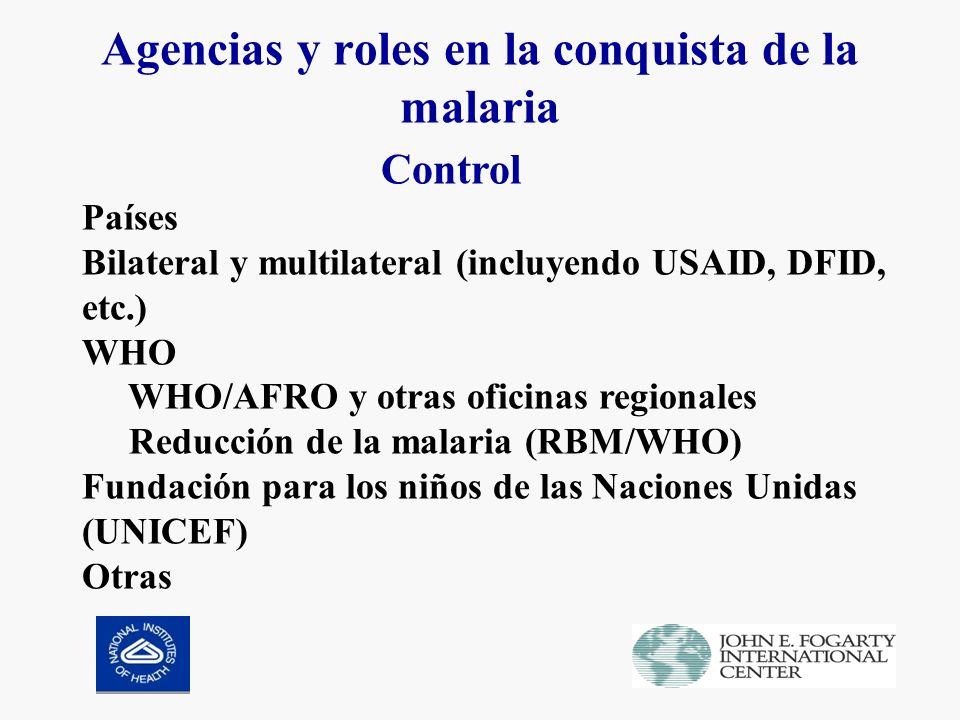 Agencias y roles en la conquista de la malaria Control Países Bilateral y multilateral (incluyendo USAID, DFID, etc.) WHO WHO/AFRO y otras oficinas regionales Reducción de la malaria (RBM/WHO) Fundación para los niños de las Naciones Unidas (UNICEF) Otras