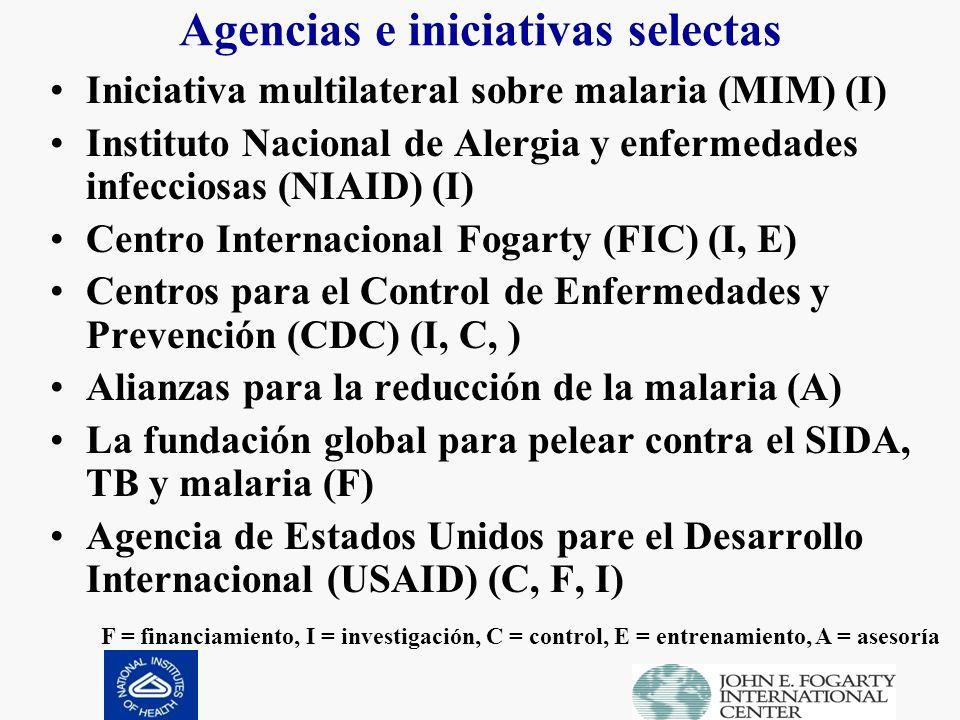 Agencias e iniciativas selectas Iniciativa multilateral sobre malaria (MIM) (I) Instituto Nacional de Alergia y enfermedades infecciosas (NIAID) (I) Centro Internacional Fogarty (FIC) (I, E) Centros para el Control de Enfermedades y Prevención (CDC) (I, C, ) Alianzas para la reducción de la malaria (A) La fundación global para pelear contra el SIDA, TB y malaria (F) Agencia de Estados Unidos pare el Desarrollo Internacional (USAID) (C, F, I) F = financiamiento, I = investigación, C = control, E = entrenamiento, A = asesoría