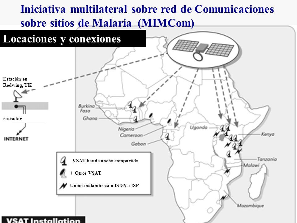 Iniciativa multilateral sobre red de Comunicaciones sobre sitios de Malaria (MIMCom) Locaciones y conexiones VSAT banda ancha compartida Otros VSAT Unión inalámbrica o ISDN a ISP ruteador Estación en Redwing, UK