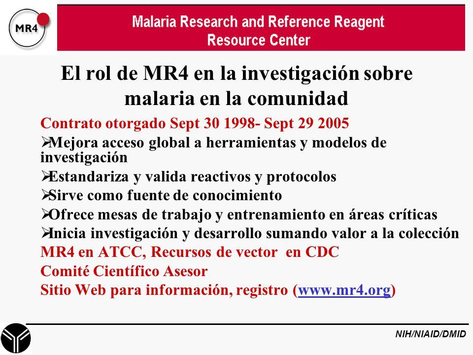 El rol de MR4 en la investigación sobre malaria en la comunidad Contrato otorgado Sept 30 1998- Sept 29 2005 Mejora acceso global a herramientas y modelos de investigación Estandariza y valida reactivos y protocolos Sirve como fuente de conocimiento Ofrece mesas de trabajo y entrenamiento en áreas críticas Inicia investigación y desarrollo sumando valor a la colección MR4 en ATCC, Recursos de vector en CDC Comité Científico Asesor Sitio Web para información, registro (www.mr4.org) NIH/NIAID/DMID