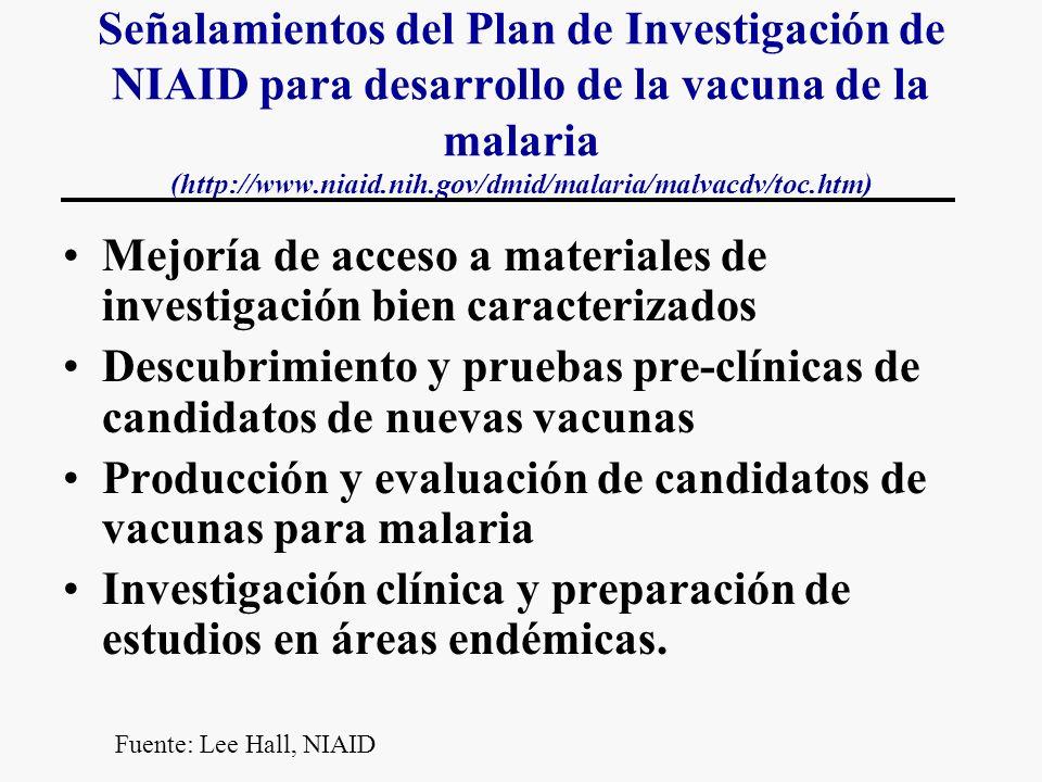 Señalamientos del Plan de Investigación de NIAID para desarrollo de la vacuna de la malaria (http://www.niaid.nih.gov/dmid/malaria/malvacdv/toc.htm) Mejoría de acceso a materiales de investigación bien caracterizados Descubrimiento y pruebas pre-clínicas de candidatos de nuevas vacunas Producción y evaluación de candidatos de vacunas para malaria Investigación clínica y preparación de estudios en áreas endémicas.