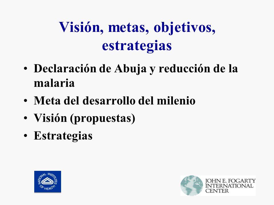 Visión, metas, objetivos, estrategias Declaración de Abuja y reducción de la malaria Meta del desarrollo del milenio Visión (propuestas) Estrategias