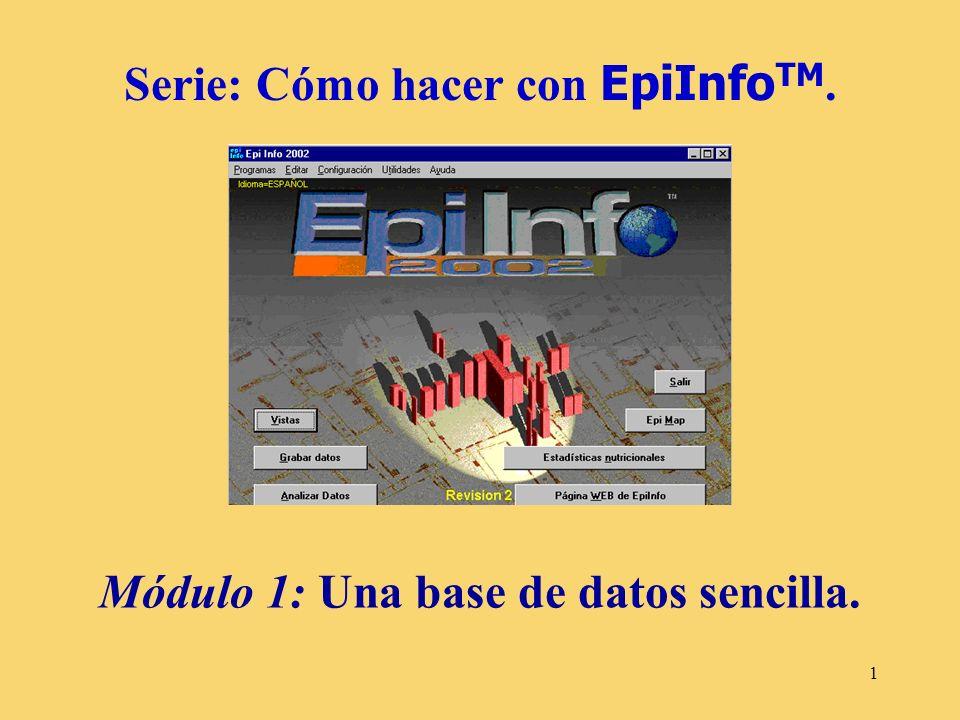 1 Serie: Cómo hacer con EpiInfo TM. Módulo 1: Una base de datos sencilla.
